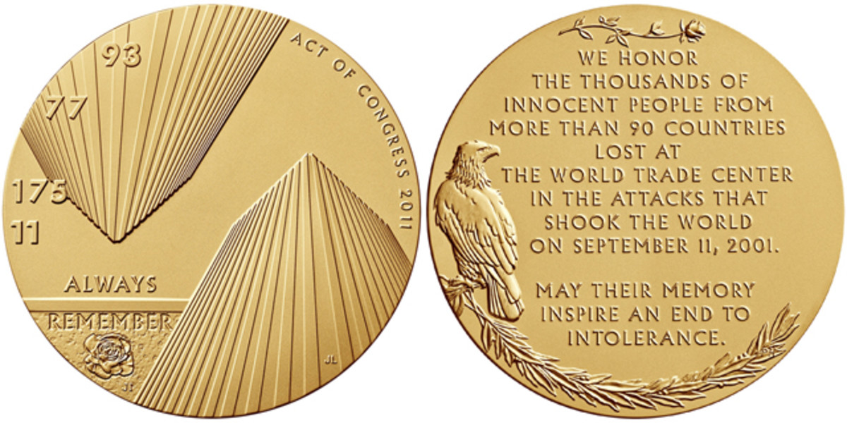 Obverse and reverse of the World Trade Center medal