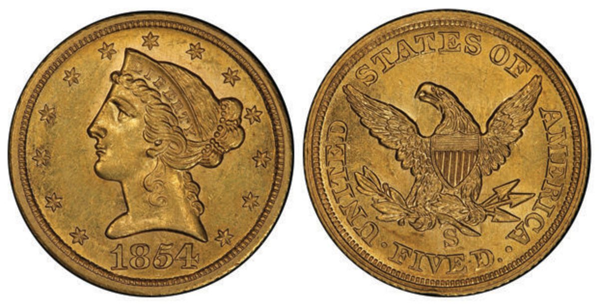 Finest Known 1854-S Liberty Head Half Eagle AU-58+ (PCGS) CAC. Images courtesy Stack's Bowers