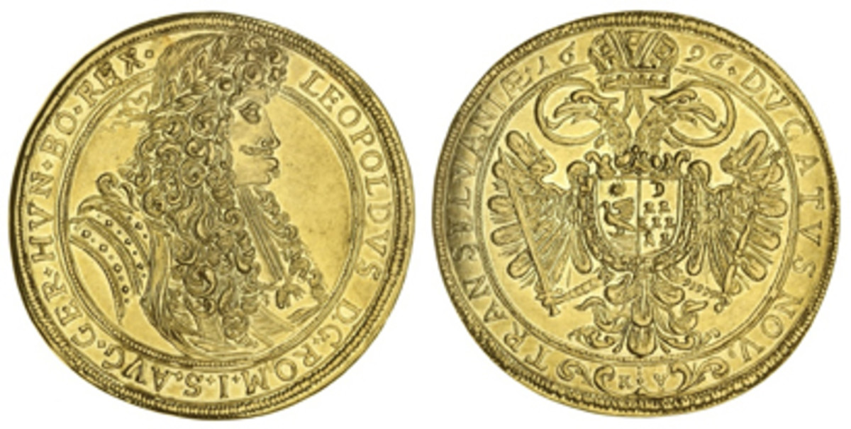 Top-selling Transylvanian 10 ducat issue of Leopold I struck at the Klausenburg [Cluj] mint 1696. In EF, it realized $186,000. The obverse image appears to differ in detail from that listed in SCWC as KM-517, said to have been struck from 1 ducat dies. (Images courtesy & © Spink USA 2019)