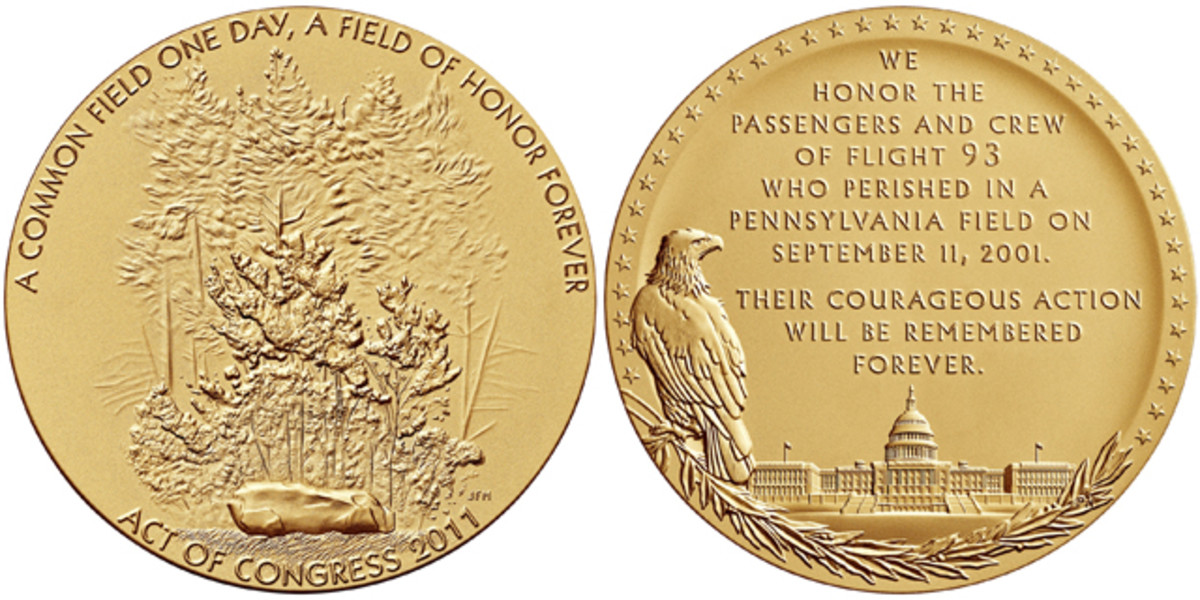 Obverse and reverse of the Flight 93 medal