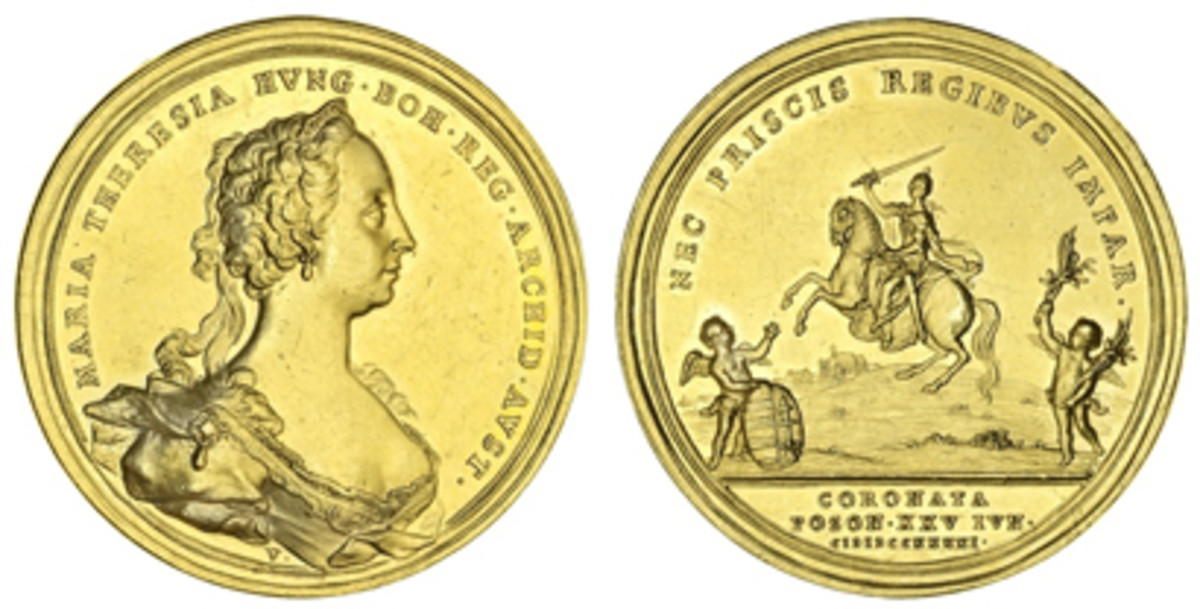 Extremely rare in gold: 1741 coronation medal struck for Marie Therese as King of Hungary. In EF, it sold for $57,000 on an estimate of $12,000-15,000. (Images courtesy & © Spink 2018)