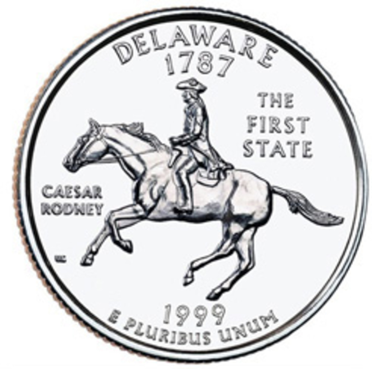 The Delaware Statehood quarter, part of the program recommended to the House Banking Committee by the author. (Image courtesy www.usacoinbook.com)