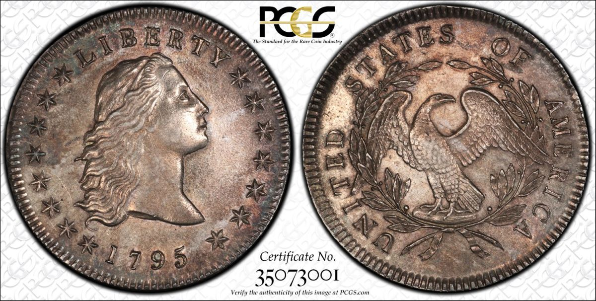 1795 Flowing Hair dollar PCGS-AU55 CCEF: Silver coinage of 1795 depicting Liberty with the Flowing Hair was inspired by Libertas Americana medal's design. (Image courtesy Stack's Bowers)