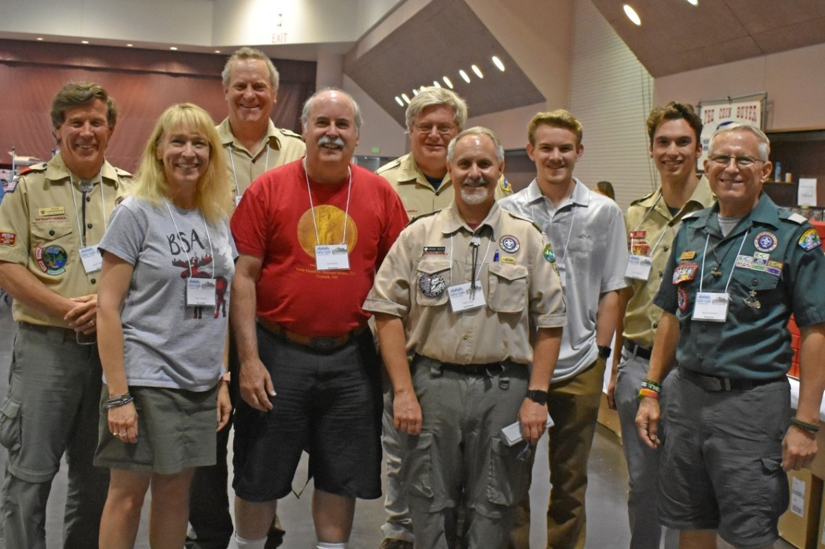 BSA Merit Badge Counselors from left to right: Kyle Anderson, Suzanne Trigonis, Todd Eyring, Don Pannell, Brian Jones, Granville Goza IV, Granville Goza V, Alexander Trigonis and Emile Mestressat.