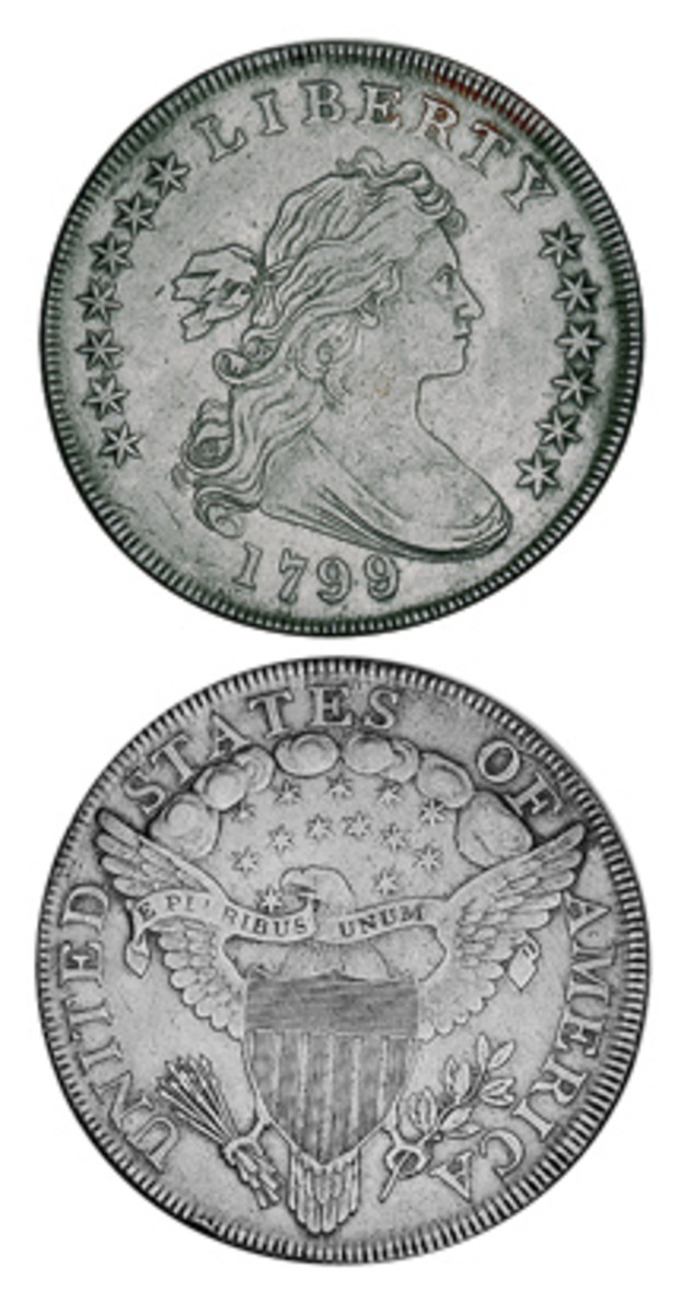 A heavy mintage for the time helped to make the 1799 today's most available Bust dollar in Mint State condition.