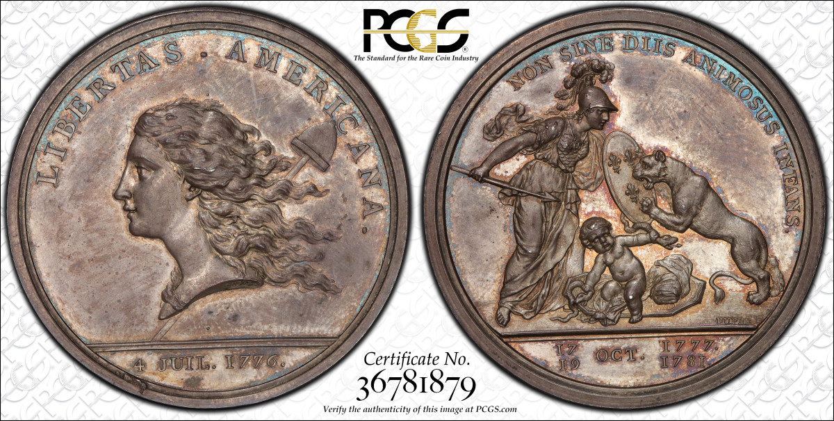 1783 Libertas Americana Silver CCEF:  The Libertas Americana medal served multiple meaningful purposes when Benjamin Franklin commissioned artist/engraver Augustin Dupré to create the design. (Image courtesy Stack's Bowers)