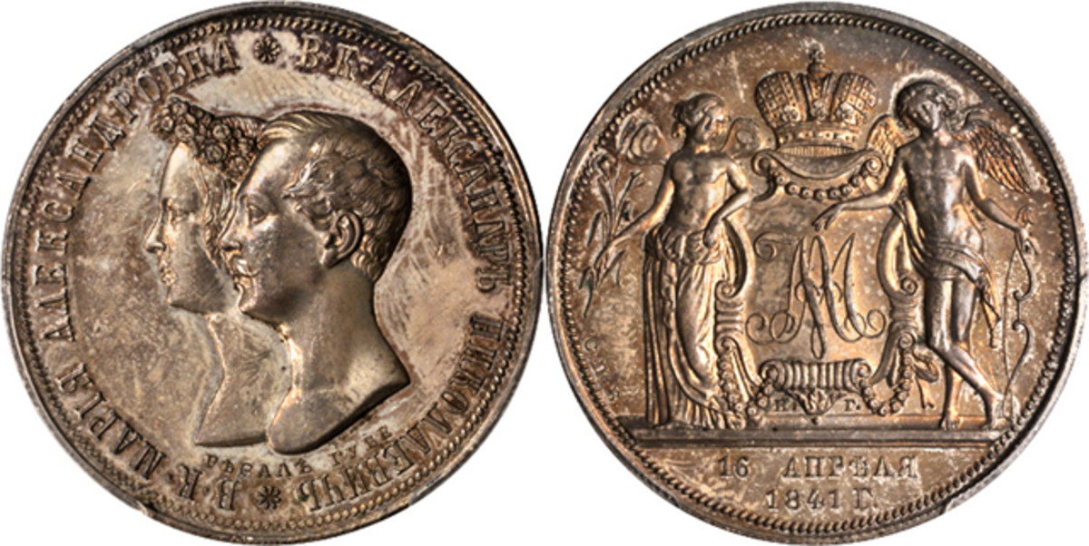This wedding ruble from Russia, 1841-CNB HT, Nicholas I (1825-55), grades PCGS PROOF-63 Secure.