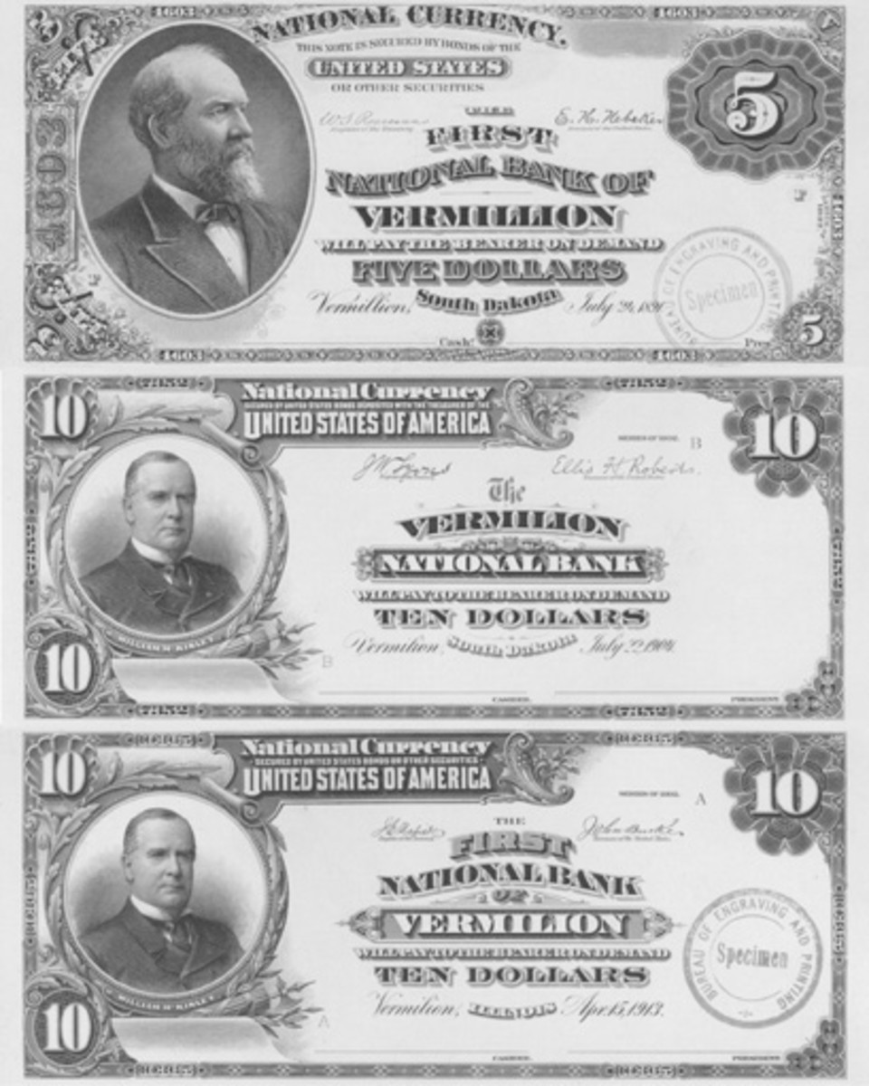 "Vermilion appears with single and double ""l""s. The spelling in South Dakota began with two ""l""s, changed to one after the turn of the 20th century, and morphed back to two near the end of the National Bank Note era."