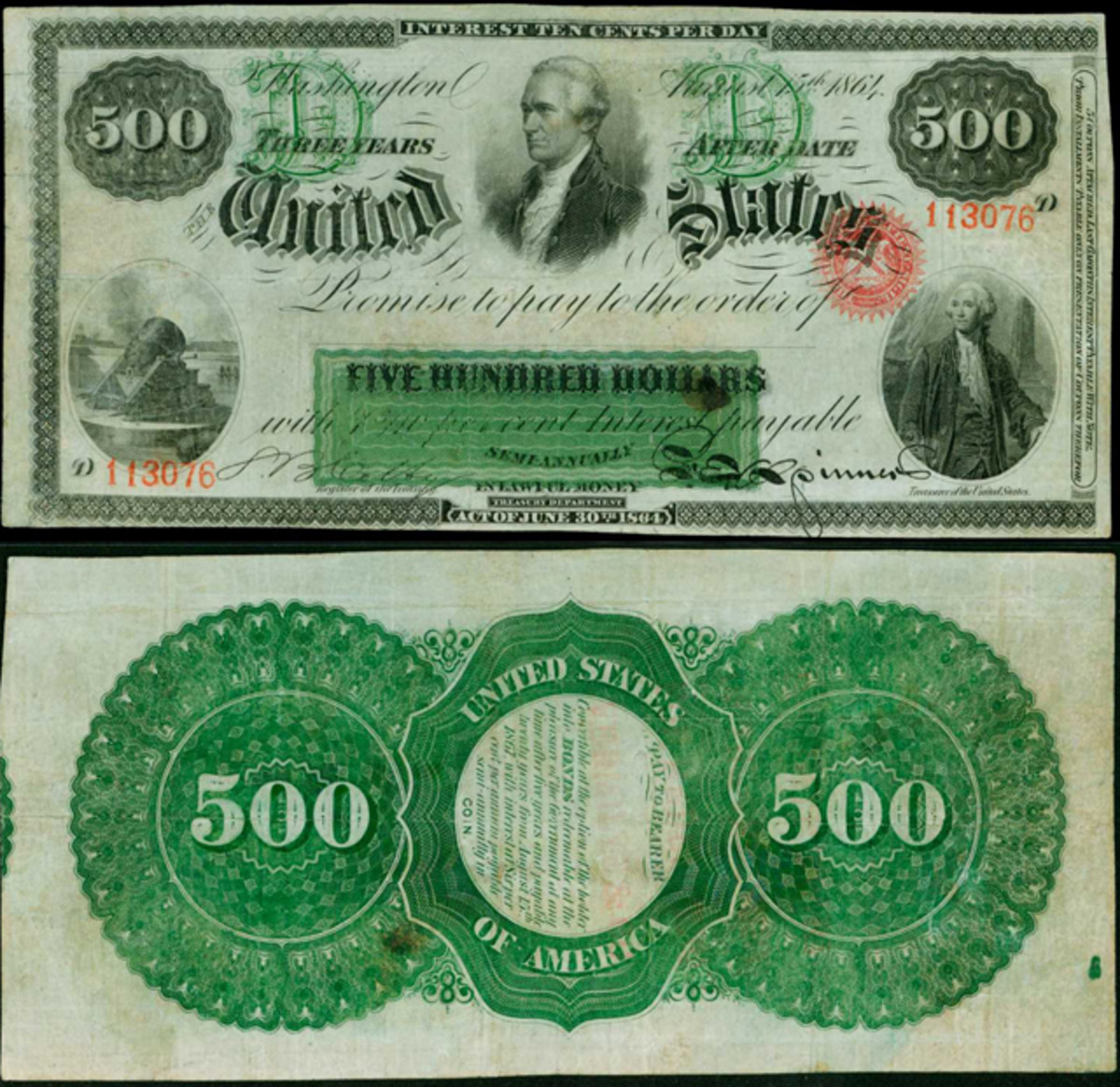 This exceedingly rare 1864 Interesting Bearing Note is estimated at $300,000 to $500,000 in Stack's Bowers Galleries' sale in Baltimore.