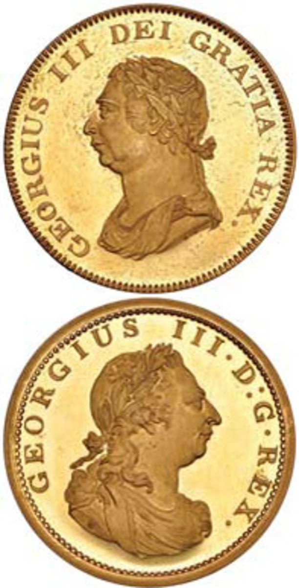 The unique gold 1804 double obverse George III pattern dollar struck by W.J. Taylor fetched $171,600 at DNW's September sale. (Images courtesy & © Dix Noonan Webb.)