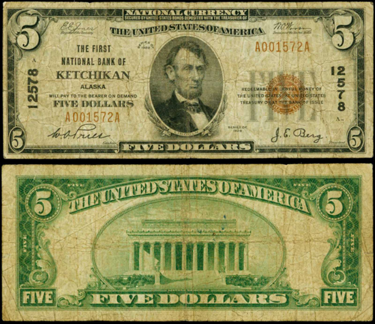 A rare national from Alaska is graded PCGS Very Good 10. It is from The First National Bank of Ketchikan.