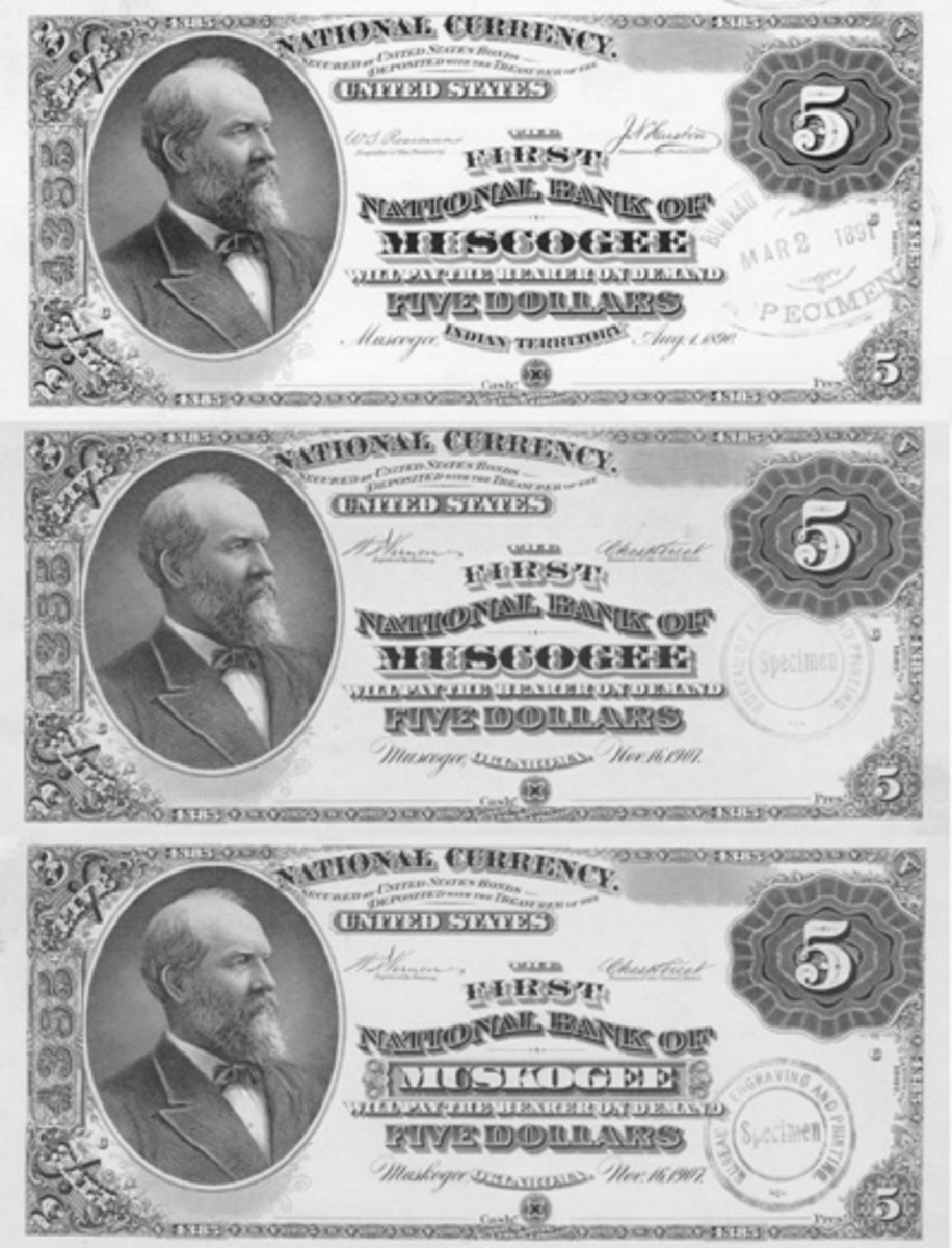 The spelling changed from Muscogee to Muskogee about the time Oklahoma was admitted to statehood. The plate was altered to Oklahoma but notification of the change in spelling came too late. The state printing with the old spelling had to be canceled, so the middle variety in this trio was not issued.