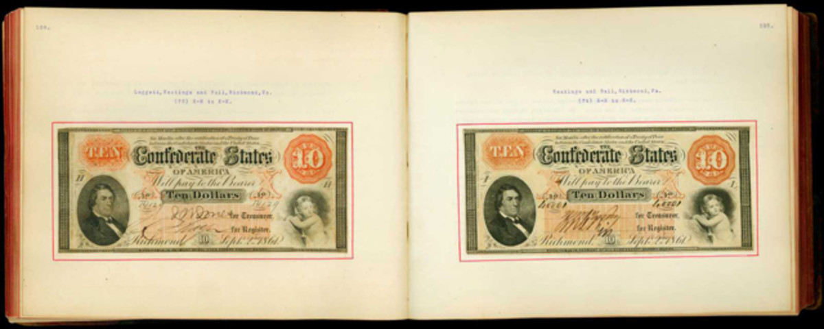 Open pages from the Thian Confederate Currency album.