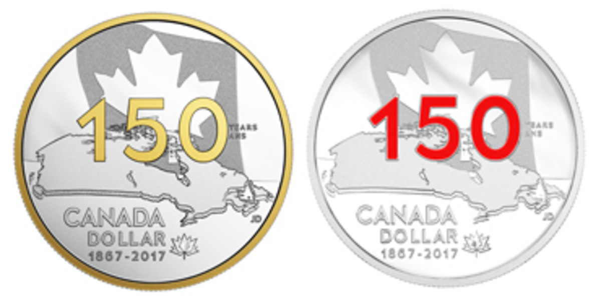 "Two of the several versions of Jamie Desrochers' commemorative silver dollar: ""Canada 150: Our Home and Native Land"". Left selectively gold-plated; right red enameled."