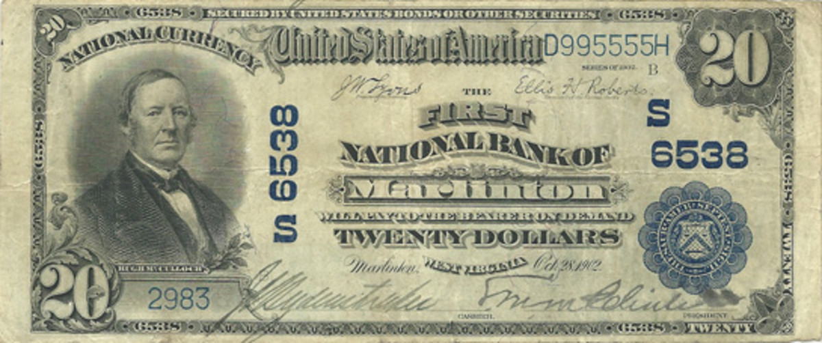 This Series of 1902 $20 National Bank Note from the author's collection hails from the First National Bank of Marlinton, W.Va. At the time of purchase, very few notes were known; since then, a few others have turned up.