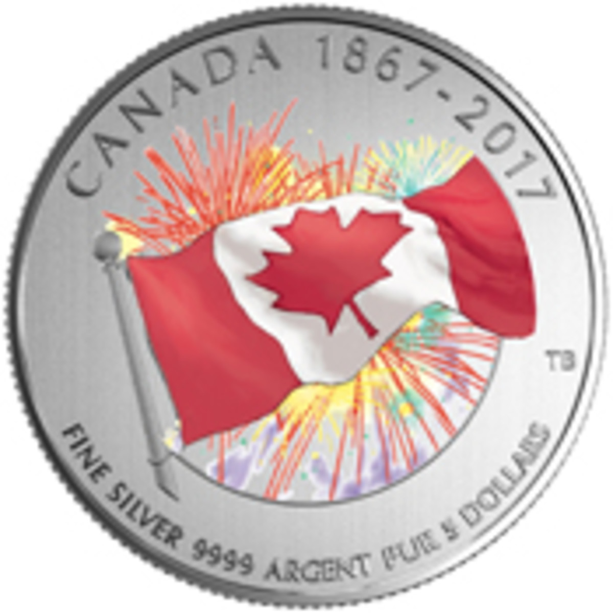 Canada's flag on $5 is in front of a glow-in-the-dark firework background.