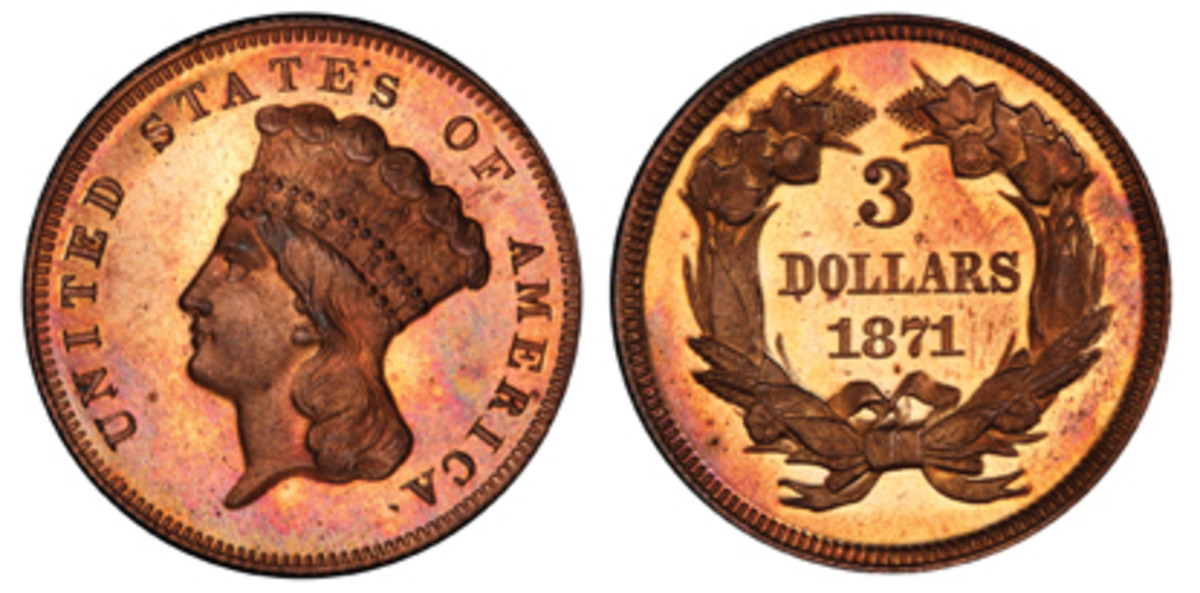 Lot 87, an 1871 Indian Head $3, realized $18,212.50