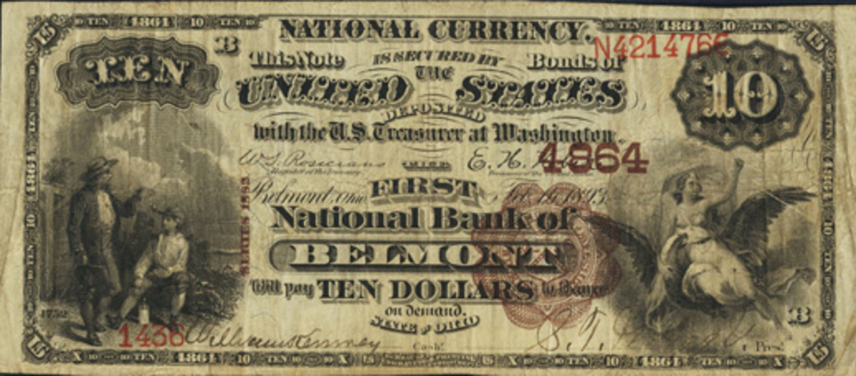 This Series of 1882 $10 Brown Back was issued by the short-lived First National Bank of Belmont, Ohio, and is the only note currently reported. (Photo courtesy Heritage Auctions)