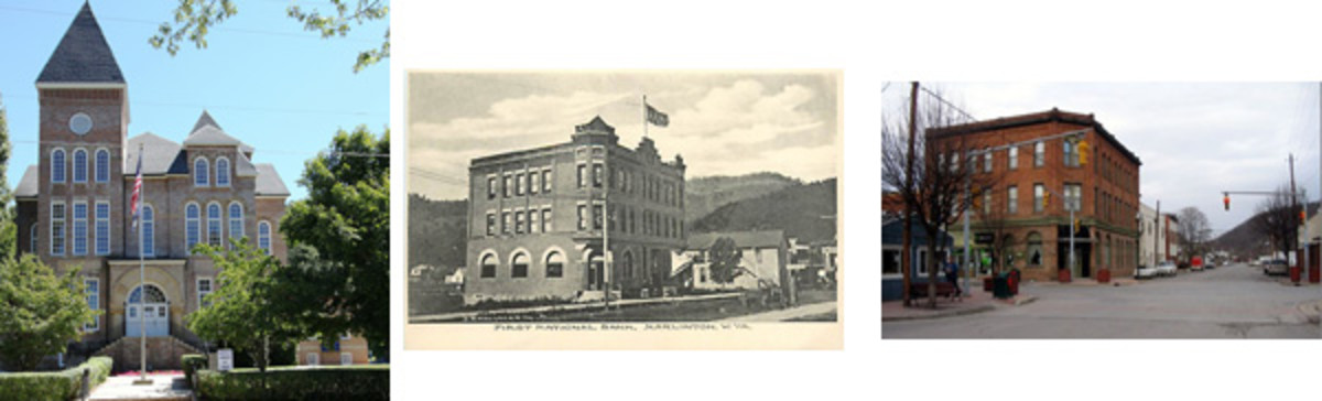 At left, the Pocahontas County Courthouse dominates the skyline of tiny Marlinton, West Virginia, the county seat. At center is a vintage photo postcard view showing the First National Bank of Marlinton, W.Va., while the building today appears at right.