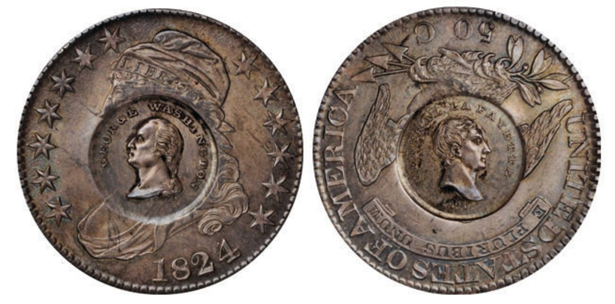 A mint state capped bust half dollar from the auction.