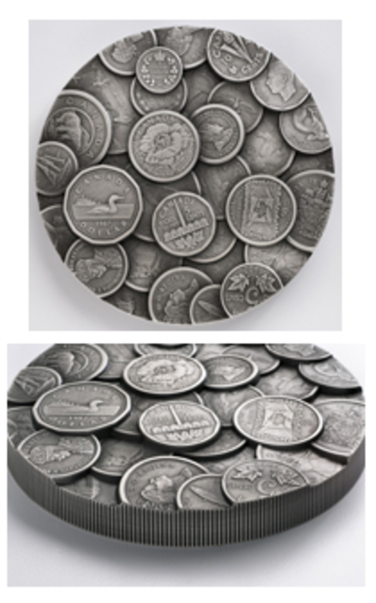 Thirty-five of Canada's circulating coins from the past 150 years feature full size on this ultra-high relief (4.4 mm) 1 kilo silver $250.