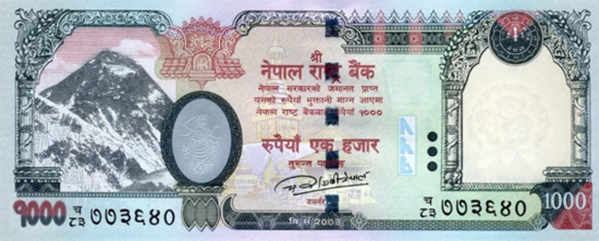 """Face of Nepal's 2016 1,000-rupee note showing the signature of the Governor of """"Nepal Rastra Bank,"""" Chiranjibi Nepal, and printed by CBPM (P-68 new signature). (Image courtesy http://www.ebaystores.com/yuri111)"""