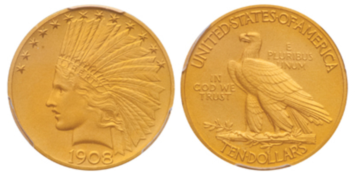 Lot 490, a 1908 Indian Head $10, brought a record price of $146,875.