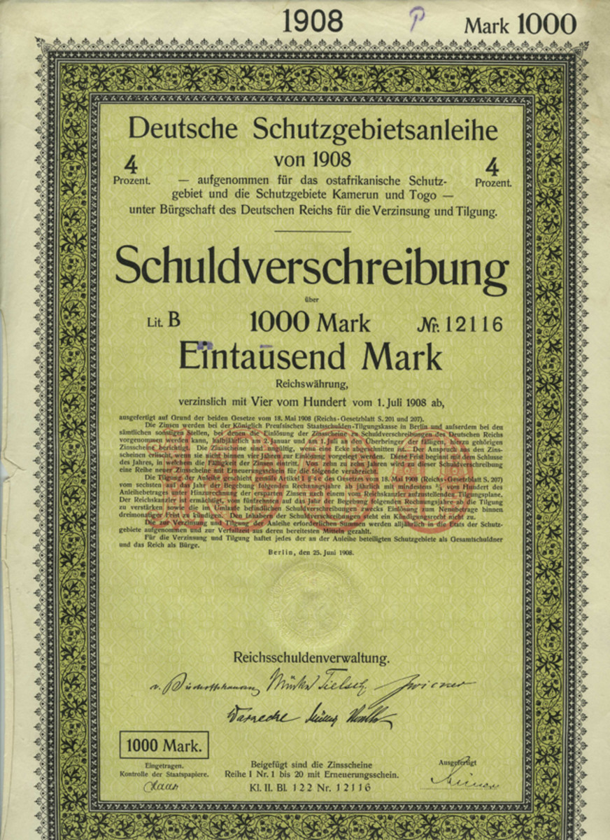 German Protectorate Loan, Cameroon and Togo, 4% Bond 1,000 mark, Berlin June 25,1908.