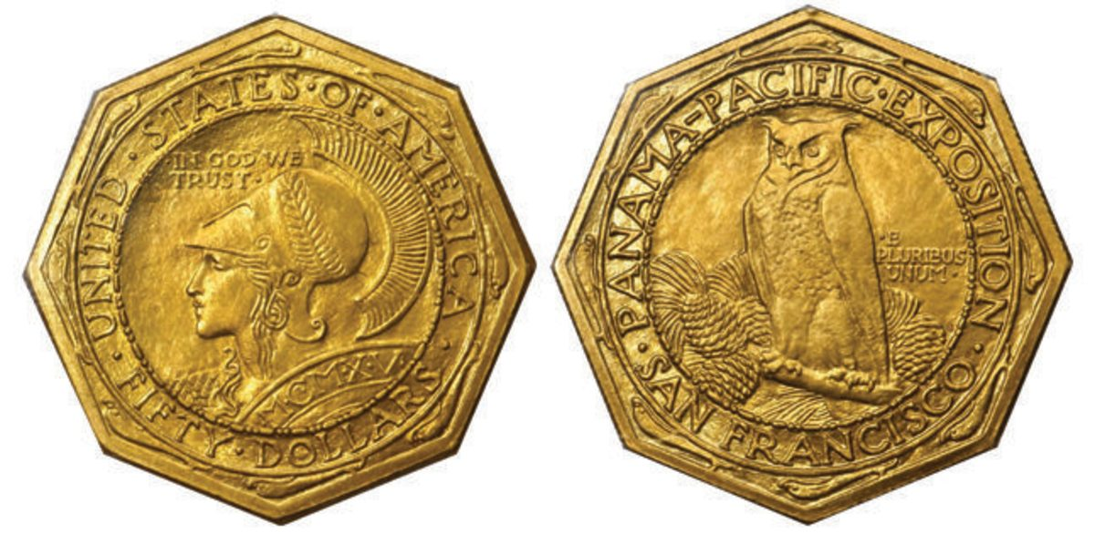 This MS-64 (PCGS) CAC Octagonal 1915-S Panama-Pacific Exposition $50 soared to $90,000.