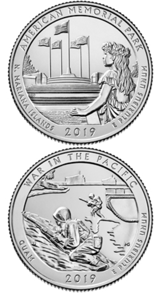 The latest additions to the America the Beautiful quarter series will be coins depicting the American Memorial Park (top), which pays tribute to the sacrifices made by American troops and residents of Saipan during the Marianas Campaign of World War II, and War in the Pacific (bottom), which honors the men and women who participated in Pacific Theater campaigns during the same conflict.