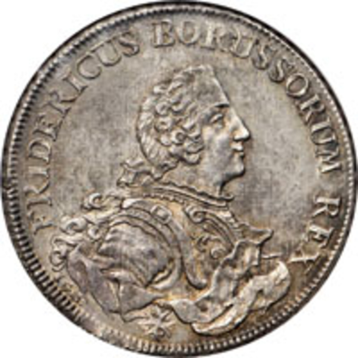 Top-priced silver: Prussian taler of Friedrich the Great struck in 1751 (ND) on behalf of the Royal Prussian Asiatic Society. In NGC MS-64, it made $13,200. (Image courtesy Stack's Bowers)