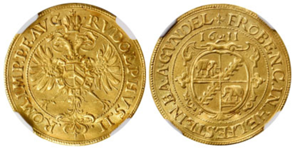Only known Helfenstein-Gundelfingen goldgulden of 1611 (KM-1; Fr-1189a). In NGC EF, it found a new home for $33,600. (Images courtesy Stack's Bowers)