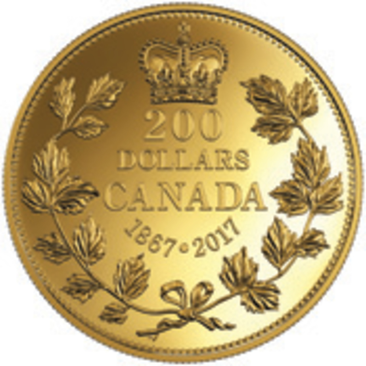 The first of Canada's 150th birthday celebratory coin: 30 mm, 31.6 g .9999 fine gold $200 proof. The reverse pays homage to a the common design that graced Canada's first circulation coins (KM-2 to KM-6).