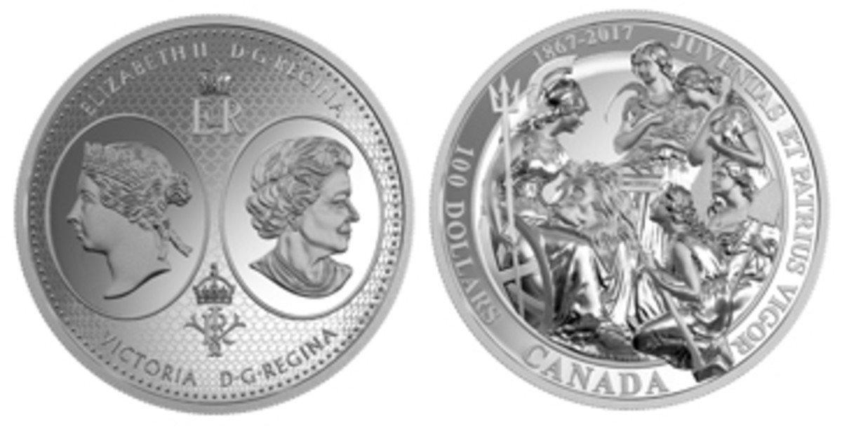 Huge 10-ounce silver $100 proof recalls the actual Confederation of 1867. The obverse shows both Queen Victoria and Queen Elizabeth II, the two Canadian monarchs in 1867 and 2017, respectively. The reverse is taken from the 1867 Confederation medal executed by J.S. and A.B. Wyon. Britannia presents the young maidenly avatars of the four Canadian provinces with the British North American Act. Clockwise from the top: Ontario with a sickle and sheaf; Quebec holding a canoe paddle; Nova Scotia with a shovel; New Brunswick with an axe.