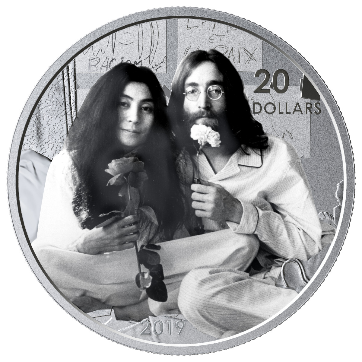 "The reverse of Canada's silver $20 proof marking the 50th anniversary of the recording of the anti-war anthem ""Give Peace a Chance"" in Montreal on June 1, 1969. (Image courtesy Royal Canadian Mint)"