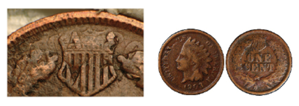 This is a Double Struck in Collar Flipover. In a nutshell what it means is you can see the obverse date 3 in the shield. The obverse became the reverse when the coin was struck a second time but the surviving obverse detail can still be seen.