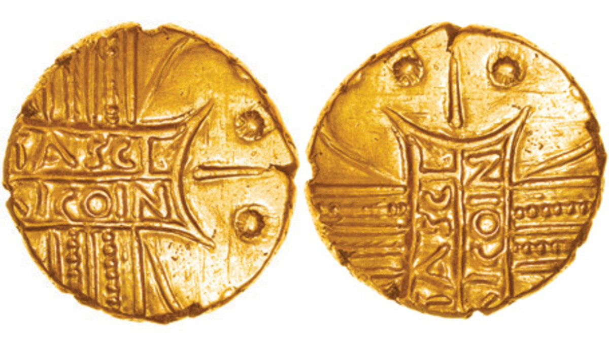 "One of eight known RICOIN error gold staters that will be auctioned by Chris Rudd on Nov. 18. The first was found in 1884 and belonged to Sir John Evans, author of ""The Coins of the Ancient Britons."" He spotted the spelling mistake but not the smiley face. (Images courtesy Chris Rudd)"