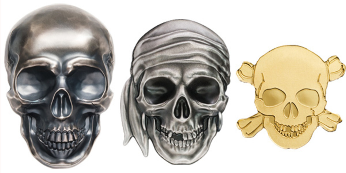 Palau's three new 2017 skull coins. (Images courtesy Coin Invest Trust)