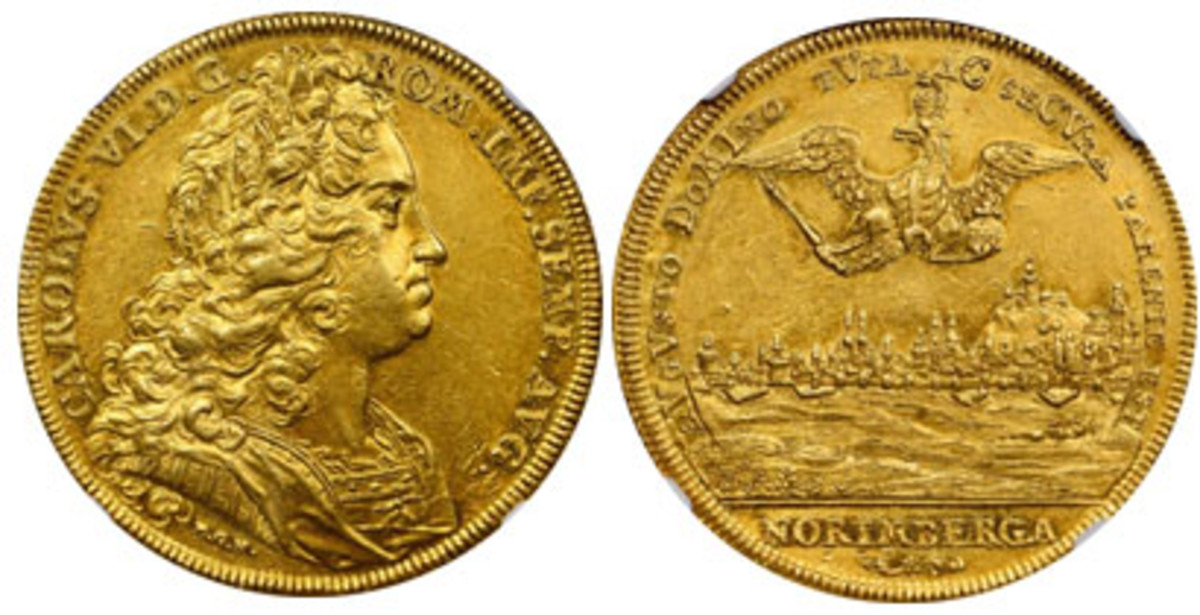 Extremely rare gold Nürnberg 8 ducat of 1721-PGN (KM-287; Fr-1904) that sold for $78,000 at Stack's Bowers' NYINC sale in January. The date is displayed in the reverse legend as a chronogram readers are invited to solve. (Images courtesy Stack's Bowers)