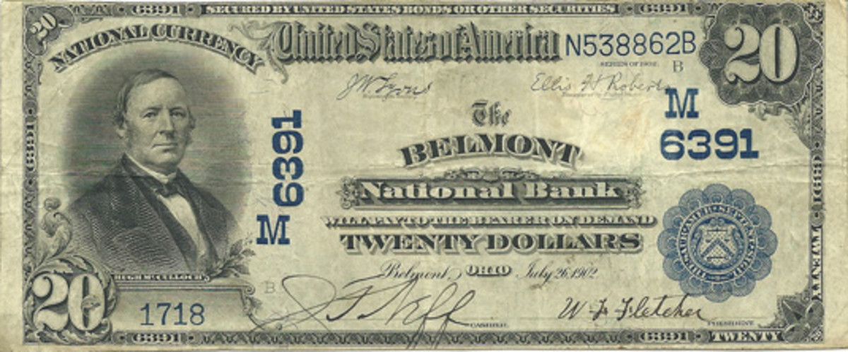 This Series of 1902 $20 Date Back issued by the Belmont National Bank hails from the author's collection.