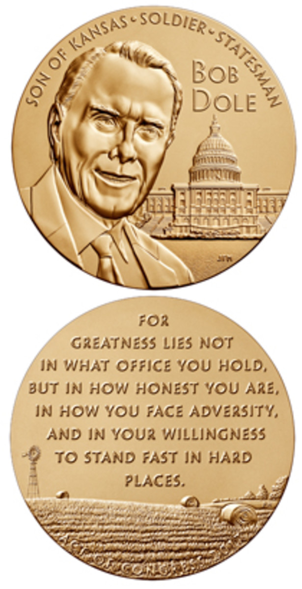 Bronze duplicates of a Congressional Gold Medal Awarded to Bob Dole are available on the Mint's website.