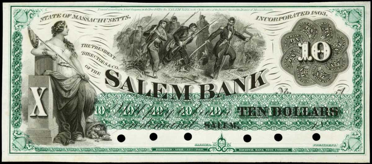 Obsoletes, including this rare Salem Bank $10 proof, highlight Stack's Bowers' Baltimore sale.