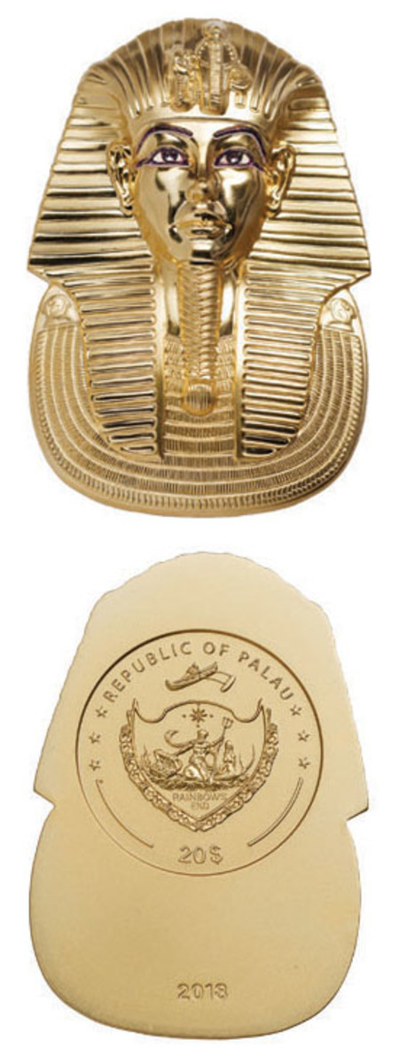 Reverse (top) and partial obverse (bottom) of Palau's new $20 struck in gilded silver and shaped as the funerary mask of Pharaoh Tutankhamun. (Images courtesy NumisCollect)