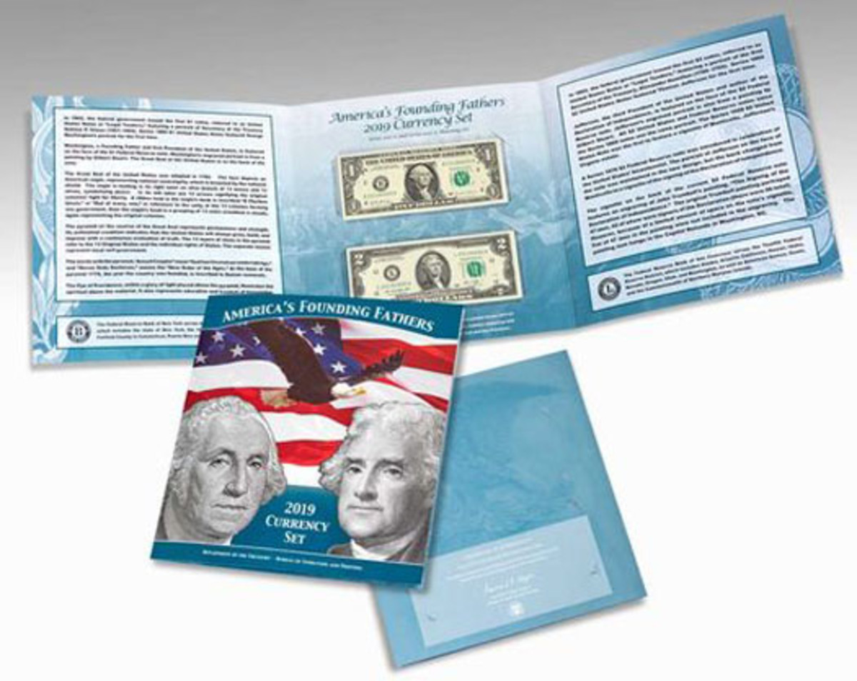 Shown is the America's Founding Fathers 2019 Currency Set featuring the two notes with matching beginning serial numbers '2019.'