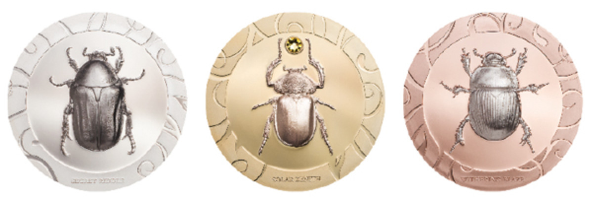 """CIT's 2018 Scarab Set III. From left: """"Secret Riddle,"""" """"Solar Zenith,"""" and """"Withering Blaze."""" (Images courtesy Coin Invest Trust)"""