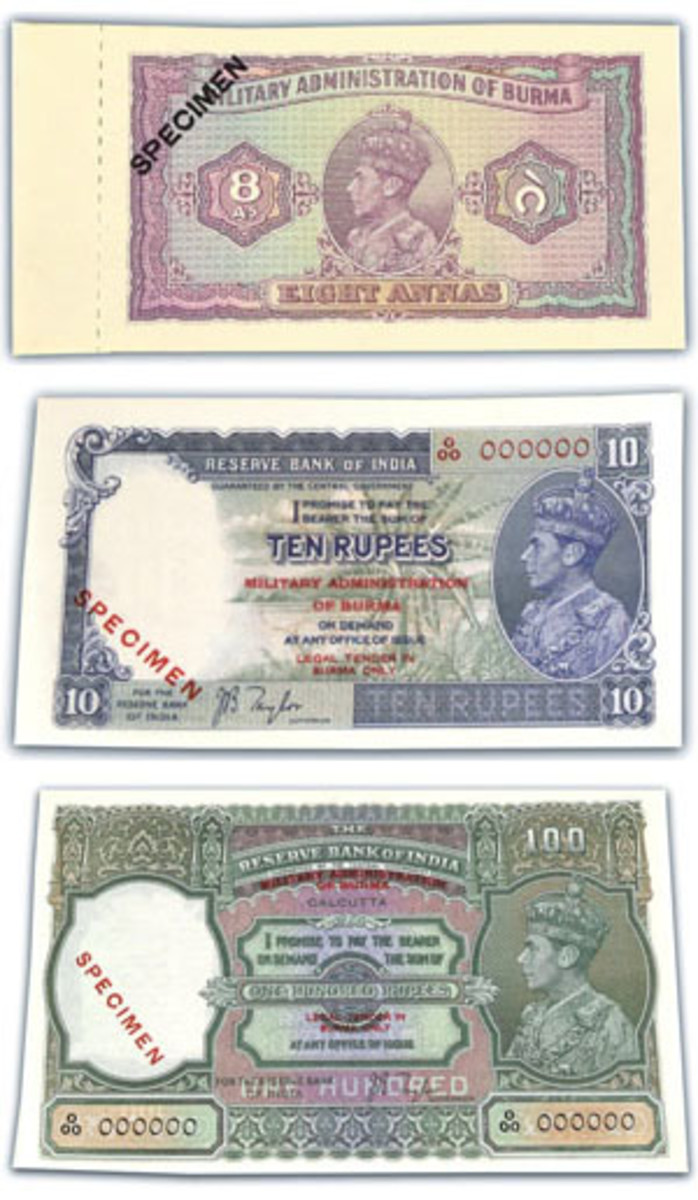 Among the specimens included in the WWII Burmese set is the 8 annas, 10 rupees and 100 rupees. (Image courtesy Tennants Auctioneers)
