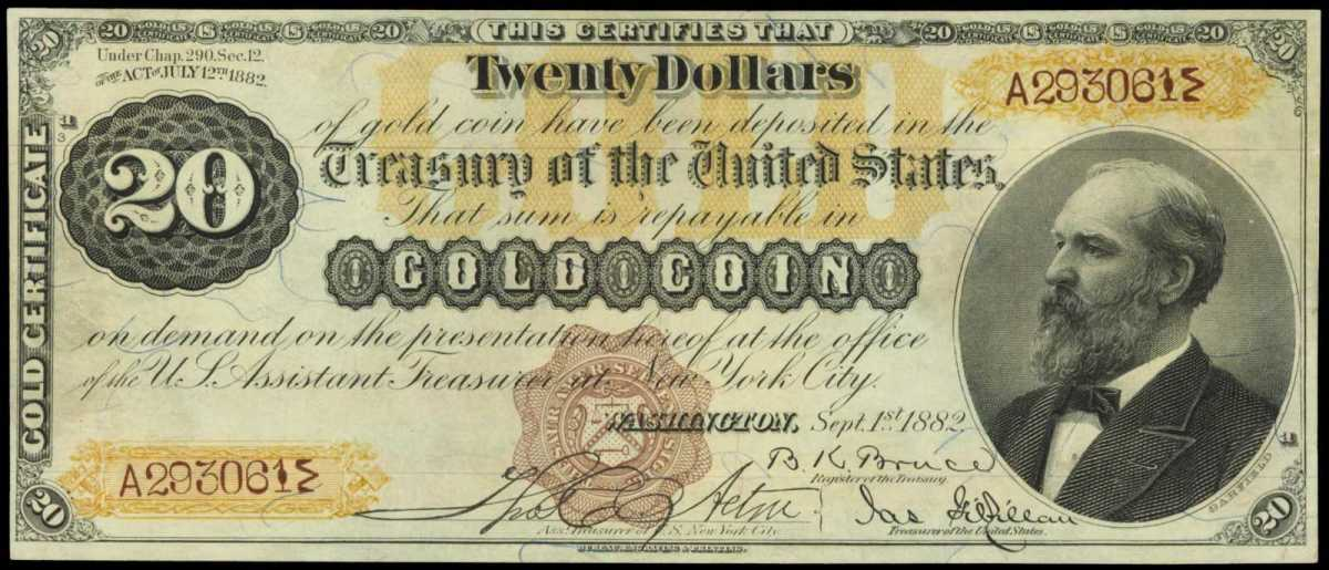 "The finest known ""triple signature"" 1882 $20 Gold Certificate is estimated at $200,000 to $300,000."