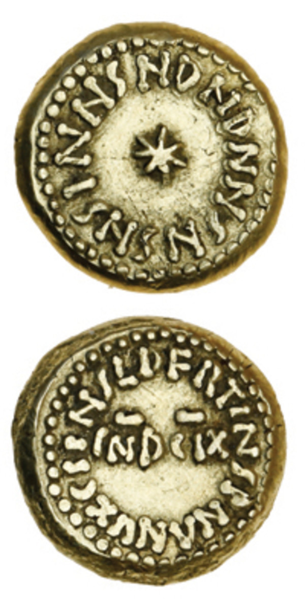 Earliest known Islamic gold solidus in Andalusian history dated A.H. 92 [711 C.E.] that sold for $33,768 in aEF in Spink's December sale. It is a previously unrecorded and unpublished type and may have been struck on the traveling mint that accompanied General Musa bin Nusayr during his Islamic conquest of the Visigoth Kingdom in Hispania. The seven-pointed star on the obverse possibly represents Venus, the symbol of Andalusia in the Muslim world. (Images courtesy and © Spink London)