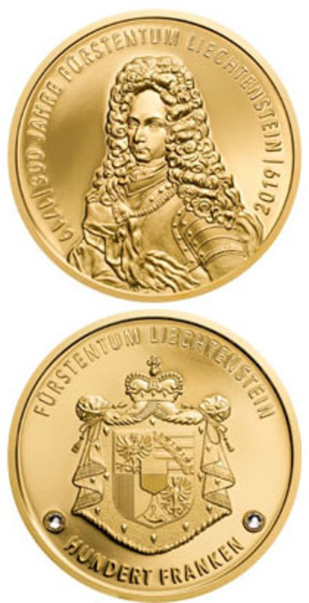 Lichtenstein's gold 100-franken (above) and silver 5-franken (lower left) commemoratives struck to mark the 300th anniversary of the creation on the Principality of Lichtenstein. (Images courtesy and © Coin Invest Trust.)