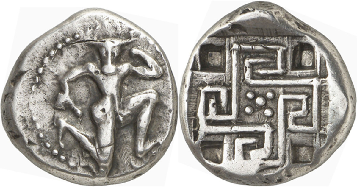 A stater from Knossos on Crete, c. 425-360, B.C.E. graded very fine has an estimate of 30,000 euros or $38,700.